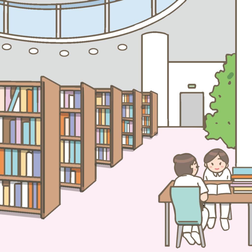 看護学校の図書室のイラスト