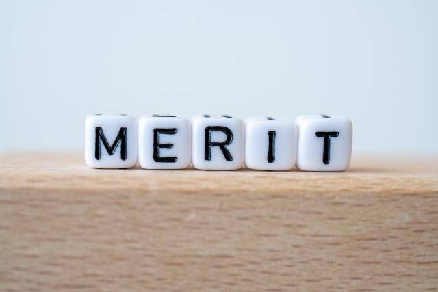 サイコロに書かれた「MERIT」の文字